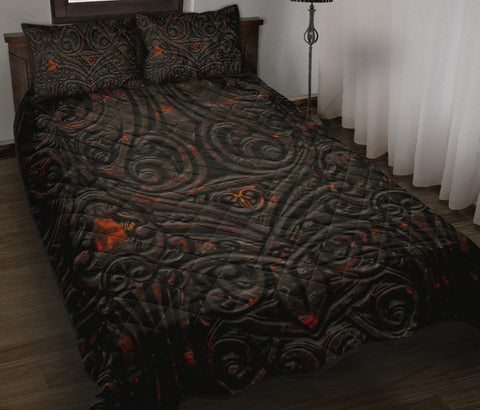 New Zealand Warriors Quilt Bed Set Maori Tiki Vocalno Style Th00 - 1st New Zealand