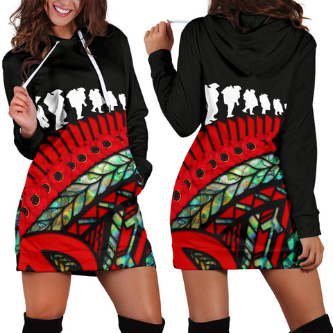 Anzac Soldiers New Zealand Hoodie Dress, Poppies Lest We Forget Maori Paua K4 - 1st New Zealand