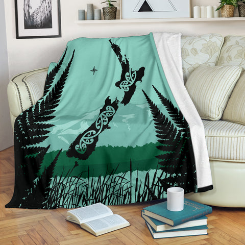 New Zealand Maori Map With Silver Fern Blanket A05 - 1st New Zealand