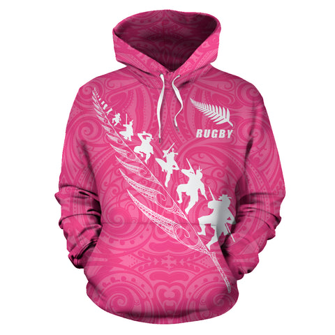 Rugby Haka Fern Hoodie Pink front