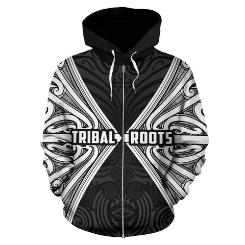 Image of Maori Aotearoa Tribal Roots Zip Up Hoodie White K4
