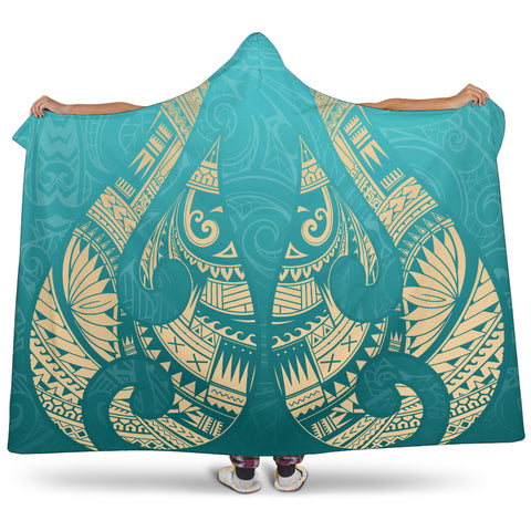 New Zealand Maori Hei Matau Tattoo Hooded Blanket K5