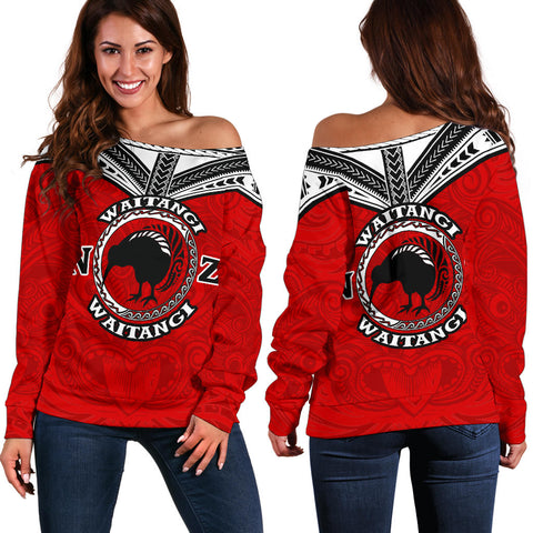New Zealand Maori Off Shoulder Sweater Waitangi Day - Red K5 - 1st New Zealand