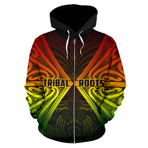 Maori Aotearoa Tribal Roots Zip Up Hoodie Rasta K4 - 1st New Zealand