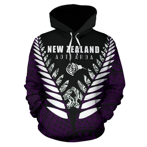 Image of New Zealand Aotearoa Silver Fern Hoodie - Purple Vline Version front