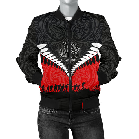 New Zealand Anzac Day Women Bomber Jacket, Lest We Forget Silver Fern Red K4 - 1st New Zealand