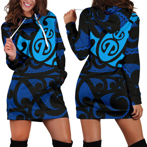 Maori Blue Mangopare Women's Hoodie Dress - 1st New Zealand