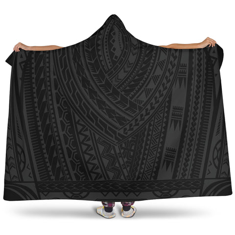 Image of  Hooded Blanket - New Zealand Maori Tattoo Hooded Blanket - Youth 60x45 - Adult 80x60