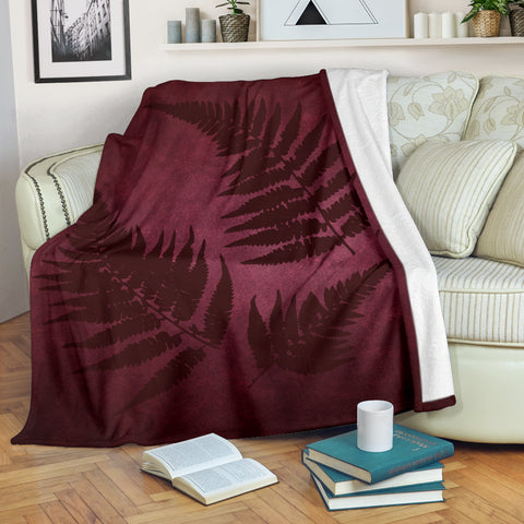 Image of New Zealand Silver Fern Blanket - Dark Red A05
