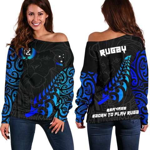 New Zealand Maori Lion Rugby Off Shoulder Sweater - Blue K5 - 1st New Zealand
