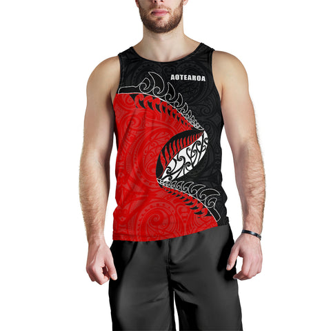 New Zealand Tank Tops, Maori Silver Fern Sleeveless Shirts K4 - 1st New Zealand
