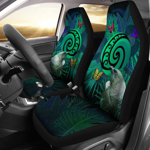 New Zealand Car Seat Covers Koru Fern Mix Tui Bird - Tropical Floral Turquoise K4