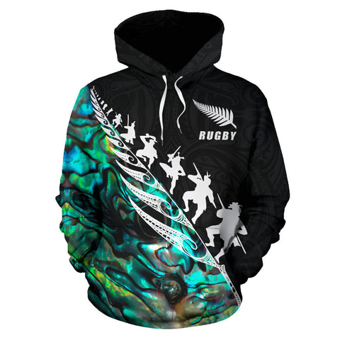 Image of Rugby Haka Fern Hoodie Paua Shell - Custom Version front