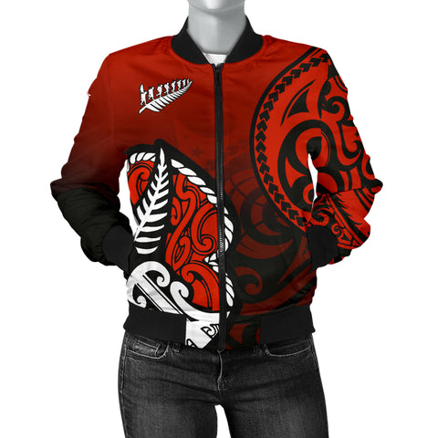 Image of Lest We Forget - Maori Poppy Pullover Women's Bomber Jacket Th00 - 1st New Zealand