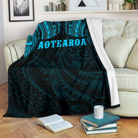 Image of Aotearoa Maori Tattoo Premium Blanket Blue K4 - 1st New Zealand