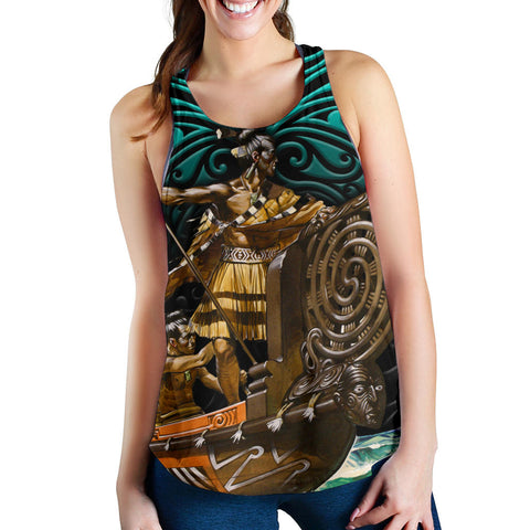New Zealand Women Racerback Tank, Maori Waka Taua K4 - 1st New Zealand