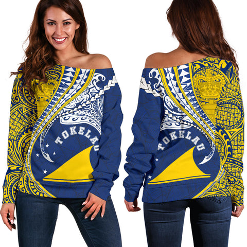 Image of Tokelau Women's Off Shoulder Sweater Manta Polynesian TH65 - 1st New Zealand