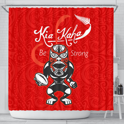 Rugby Kia Kaha Be Strong Shower Curtain Red K40