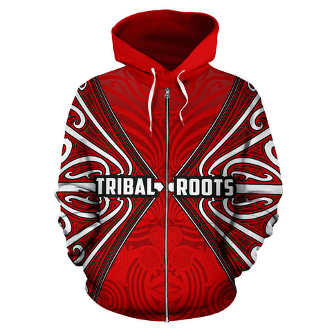 Image of Maori Aotearoa Tribal Roots Zip Up Hoodie Red K4