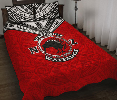 Image of New Zealand Maori Quilt Bed Set Waitangi Day - Red K5 - 1st New Zealand