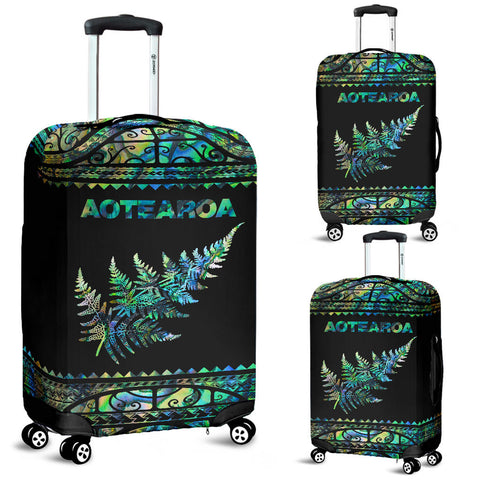 New Zealand Luggage Cover, Aotearoa Maori Silver Fern Suitcase Covers K4x - 1st New Zealand