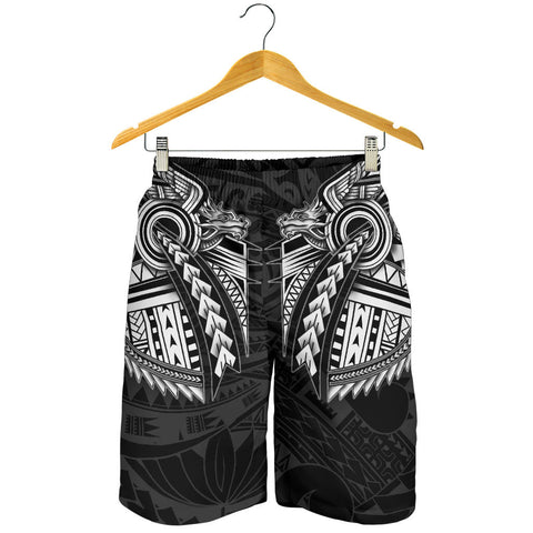 Image of New Zealand Maori Polynesian Dragon Tattoo Men Shorts - White K4 - 1st New Zealand