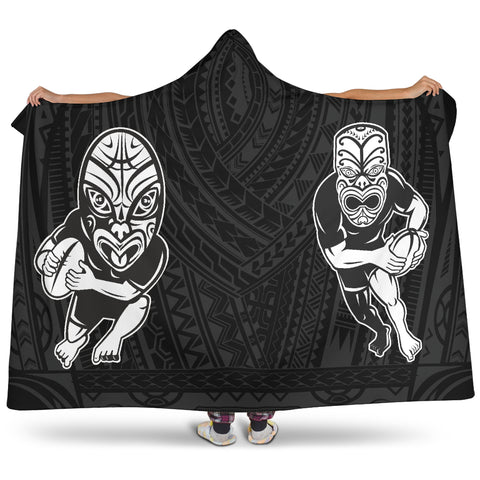 Rugby Face to Face Style Hooded Blanket - hooded blanket back - color black
