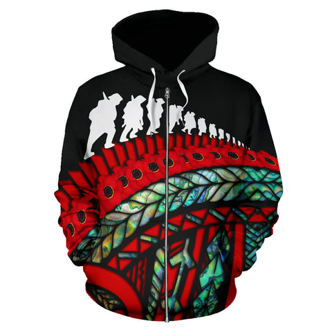 Image of Anzac Soldiers New Zealand Zip Hoodie, Poppies Lest We Forget Maori Pullover Hoodie Paua Shell