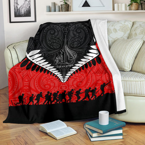 Image of New Zealand Anzac Day Premium Blanket, Lest We Forget Silver Fern Red K4 - 1st New Zealand