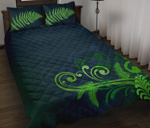 Image of Quilt Bed Set NZ Silver Fern Green L1 - 1st New Zealand