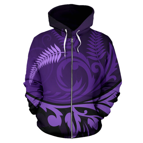 Image of New Zealand Silver Fern Zip Up Hoodie Purple - 1st New Zealand