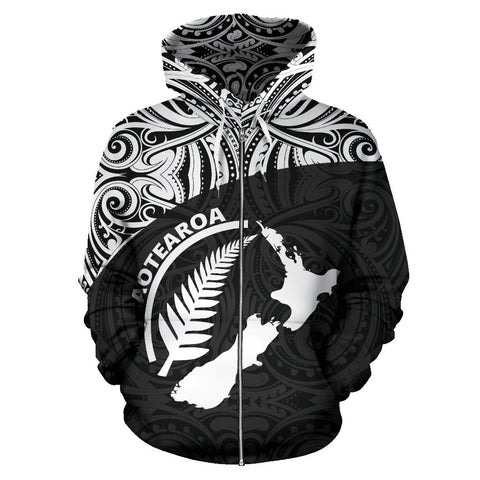 Aotearoa Rugby with Map and Silver Fern Zip-up Hoodie TH90 - 1st New Zealand