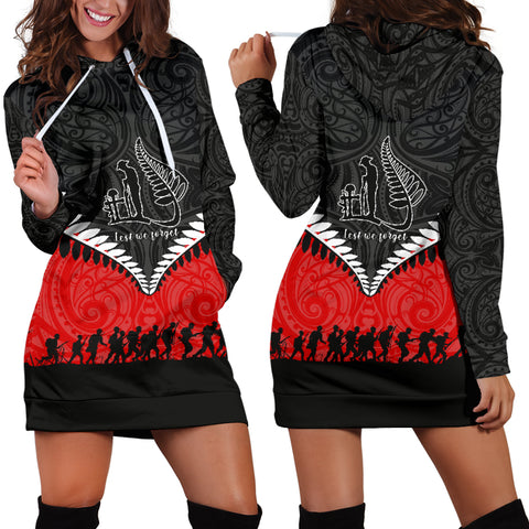 New Zealand Anzac Day Women Hoodie Dress , Lest We Forget Silver Fern Red K4 - 1st New Zealand
