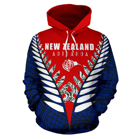 New Zealand Aotearoa Silver Fern Hoodie - Red Blue Vline Version front