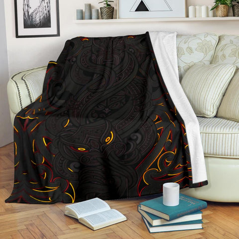 New Zealand Premium Blanket, Maori Gods Tumatauenga (God of War) - Black K4 - 1st New Zealand