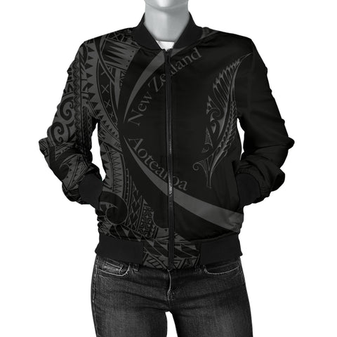 New Zealand Silver Fern Women's Bomber Jacket Maori Tattoo Circle Style J95 - 1st New Zealand