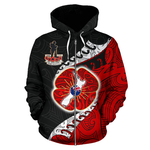 Anzac New Zealand Zip Hoodie - Lest We Forget Poppy Map Silver Fern NZ K4 - 1st New Zealand