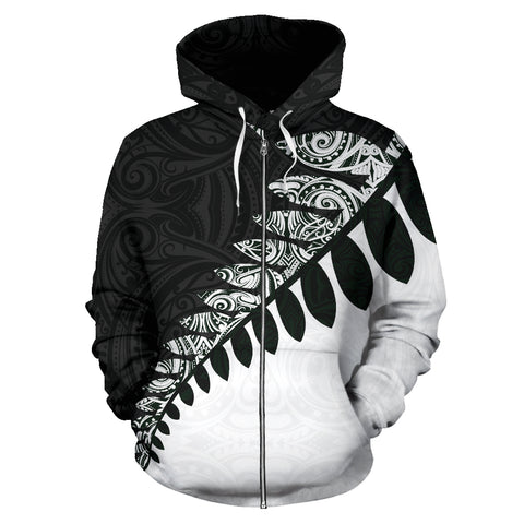 New Zealand Zip Up Hoodie, Maori Silver Fern Zipper Hoodie K4 - 1st New Zealand