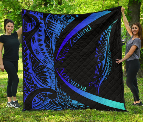 Image of New Zealand Silver Fern Premium Quilt Maori Tattoo Circle Style - Blue J95 - 1st New Zealand