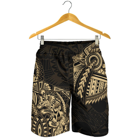 New Zealand Maori Polynesian Wolf Dragon Tattoo Men Shorts - Gold K4