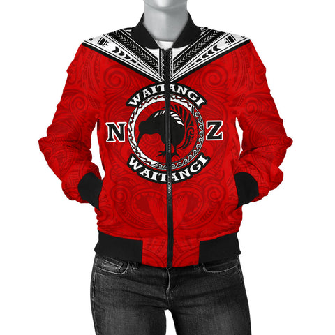 New Zealand Maori Women Bomber Jacket Waitangi Day - Red K5 - 1st New Zealand