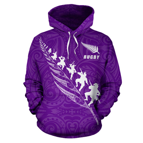 Image of Rugby Haka Fern Hoodie Violet K4 - 1st New Zealand