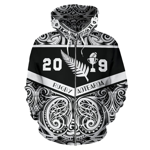 Image of New Zealand Rugby Zip Up Hoodie, Aotearoa Rugby 2019 Zipper Hoodie K4 - 1st New Zealand