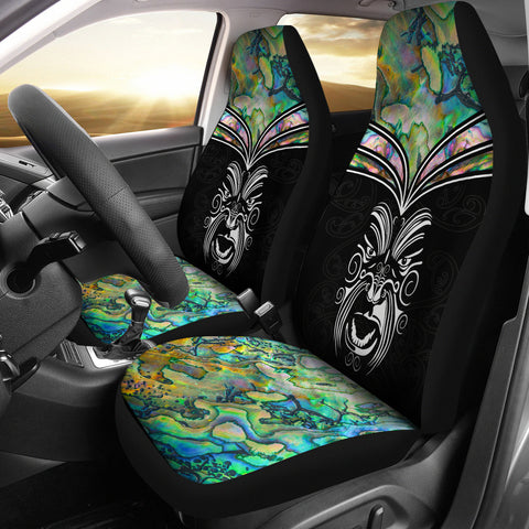 New Zealand Paua Shell with Maori Face Car Seat Covers K4 - 1st New Zealand