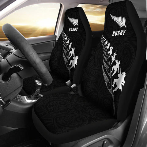 Image of Rugby Haka Fern Car Seat Covers Black K4 - 1st New Zealand