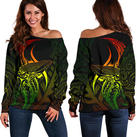 Maori Off Shoulder Sweater Humpback Whale Tattoo Rasta front and back