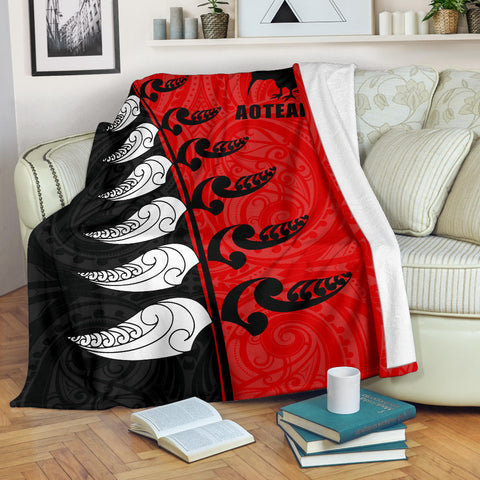 Image of Aotearoa Silver Fern Koru Style Premium Blanket Red K4 - 1st New Zealand