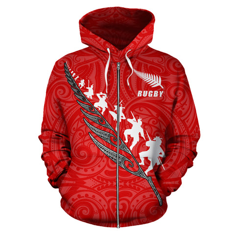 Rugby Haka Fern Zip Up Hoodie Red front