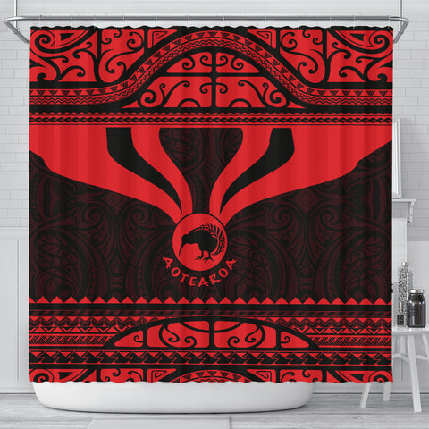 Image of Maori Aotearoa Kiwi Shower Curtain Red - Medal Version K40