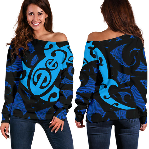 Image of Maori Blue Mangopare Women's Off Shoulder Sweater Th00 - 1st New Zealand